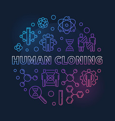 Human cloning round colored outline vector