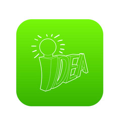 idea word with light bulb icon green vector image