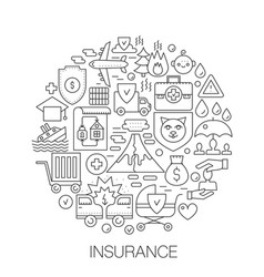 insurance in circle - concept line vector image