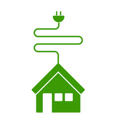 Isolated house icon with a current cable vector