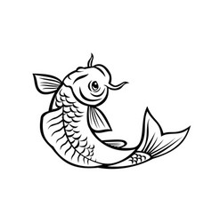Jinli koi or nishikigoi fish jumping up cartoon vector