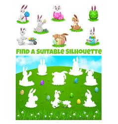 kids game find correct shadows easter egg hunt vector image