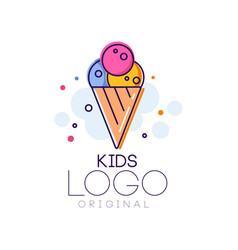 Kids logo original creative concept template vector