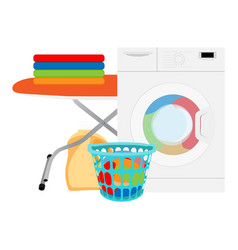 laundry in washing machine and basket indoors vector image