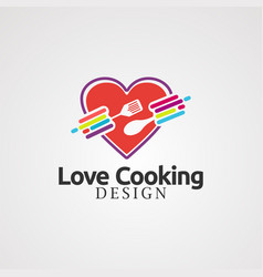 loving cooking with colorful concept logo icon vector image