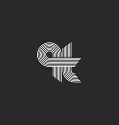 Lowercase qt letters idea logo initials monogram vector