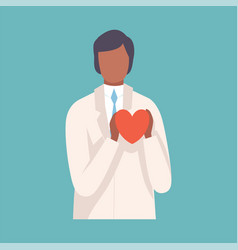 male doctor ardiologist holding red heart vector image