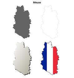 Meuse Lorraine outline map set vector