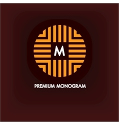 Modern monogram emblem logo ring the vector
