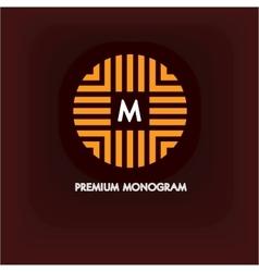 Modern monogram emblem logo ring vector