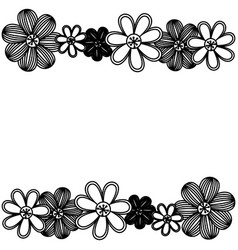 Monochrome minimalistic background with flowers in vector