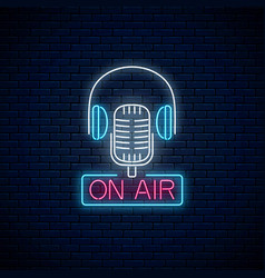neon on air sign with retro microphone and vector image