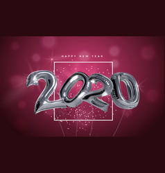 new year 2020 silver 3d foil party balloon card vector image