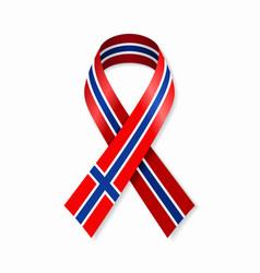 Norwegian flag stripe ribbon on white background vector
