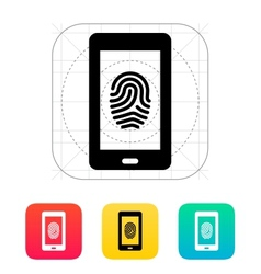 Phone fingerprint icon vector image