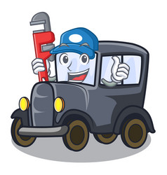 Plumber old miniature car in shape mascot vector