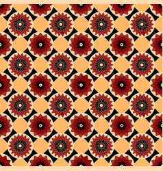 Red black and yellow seamless abstract floral vector