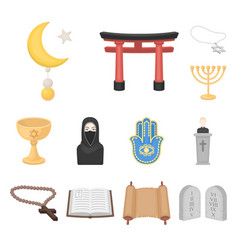 Religion and belief cartoon icons in set vector