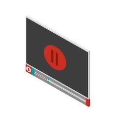 screen with pause icon and play button vector image