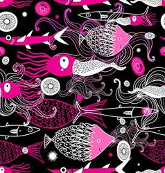 Seamless sea pattern image of squid vector image