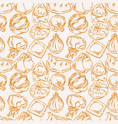 Seamless variety sketch dumplings vector
