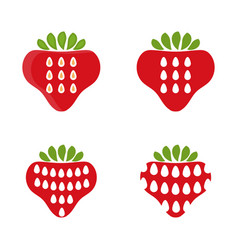 set abstract icons strawberry vector image