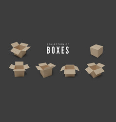 set boxes realistic color collection package vector image