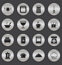 Set of 16 editable kitchen icons includes symbols vector