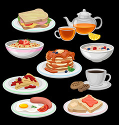 Set of breakfast icons sandwich tea coffee with vector