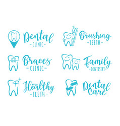 set of dentistry labels for a dental clinic vector image