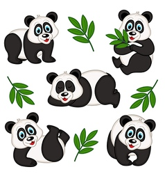 set of isolated panda vector image