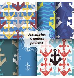 Set of marine seamless patterns vector