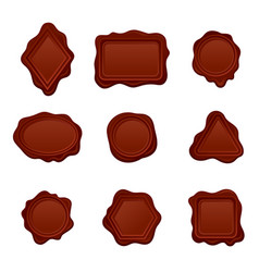 set of wax seals of different shapes old vector image