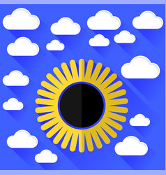 Solar eclipse and clouds vector