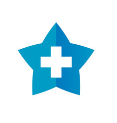 star and plus icon symbol positive and star shape vector image