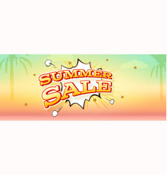 summer sale banner with exploding speech bubble vector image