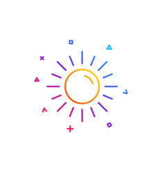 sun line icon hot weather sign vector image