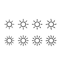 sun sunshine line icons simple sun icon with rays vector image