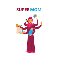 super arabian woman super muslim woman super mom vector image