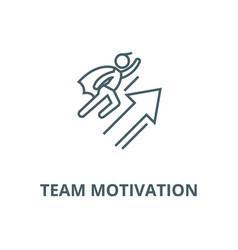 Team motivation line icon linear concept vector