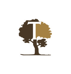 tree letter t vector image
