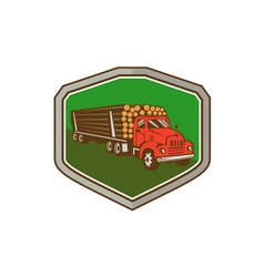 Truck Vintage Logging Shield Retro vector image