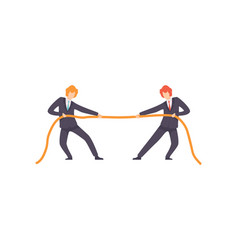 two businessmen pulling opposite ends rope vector image