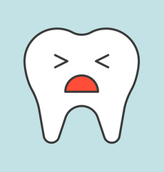 unhappy tooth crying dental related icon filled vector image