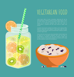 Vegetarian food poster refresh summer detox diet vector