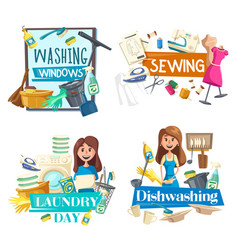Washing window cleaning sewing laundry service vector