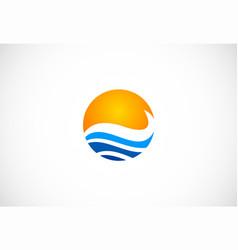 water beach ocean round logo vector image