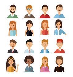 white background with set half body group people vector image