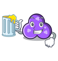 With juice trefoil mascot cartoon style vector