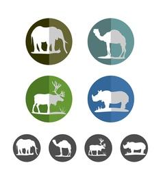 Animal flat icons vector image